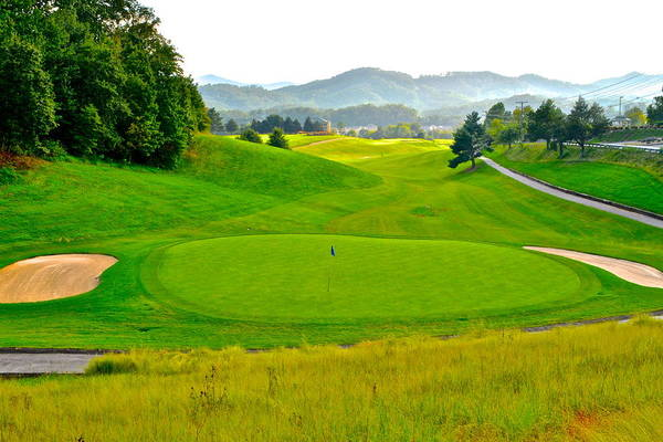 Golf Art Print featuring the photograph Mountain Golf by Frozen in Time Fine Art Photography