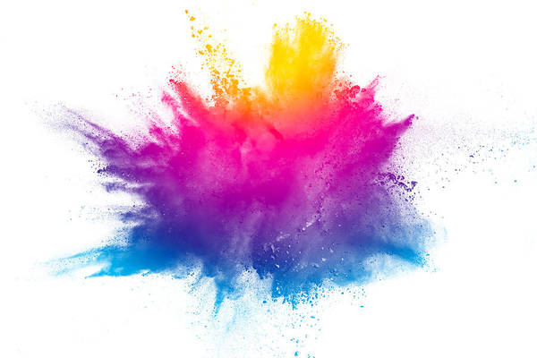 Multi Color Powder Explosion Isolated On White Background
