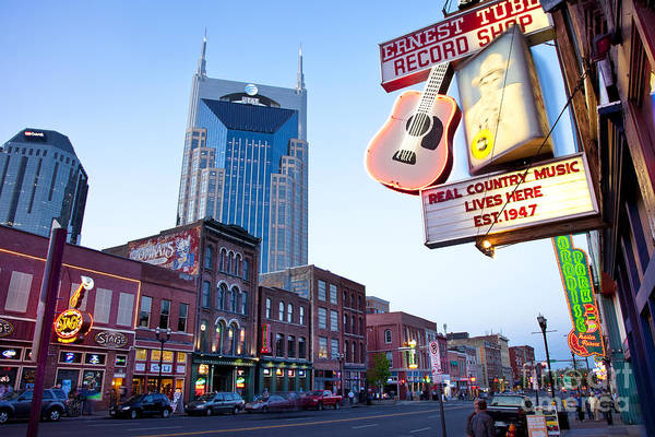 At&t Art Print featuring the photograph Music City Usa by Brian Jannsen