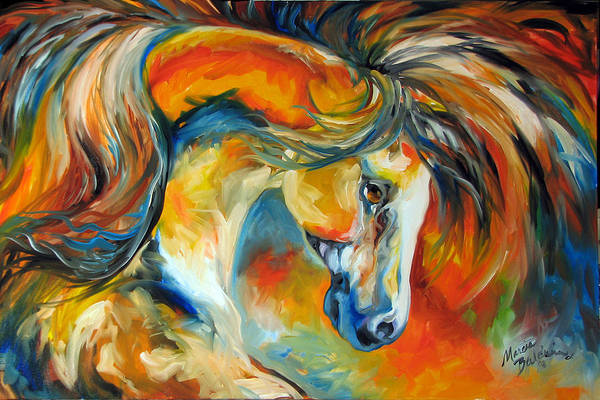 Equine Art Print featuring the painting Mustang West by Marcia Baldwin