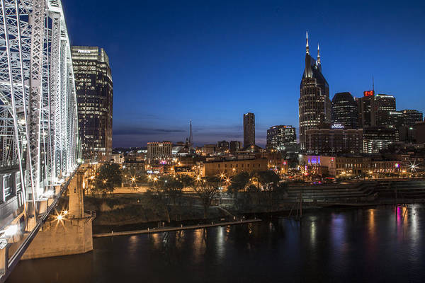 Nashville Print featuring the photograph Nashville Tennessee With Pedestrian Bridge by John McGraw