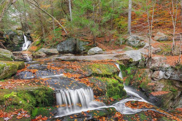Autumn Waterfall Art Print featuring the photograph Near And Far by Bill Wakeley