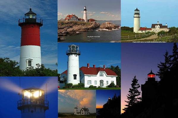 Lighthouse Print featuring the photograph New England Lighthouse Collection by Juergen Roth