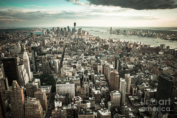 Manhatten Art Print featuring the photograph New York From Above - Vintage by Hannes Cmarits