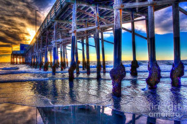 Pier Art Print featuring the photograph Newport Beach Pier - Low Tide by Jim Carrell