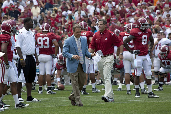 Nick Saban Art Print featuring the photograph Nick Saban And The Tide by Mountain Dreams