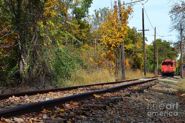 Red Nickel Plate Train Art Print featuring the photograph Nickel Plate Train Tracks by Amy Lucid