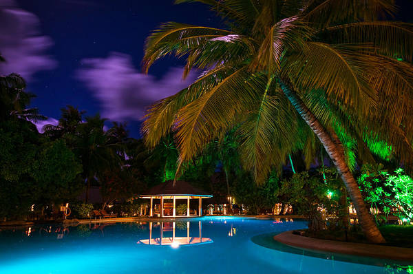 Tropical Art Print featuring the photograph Night At Tropical Resort by Jenny Rainbow