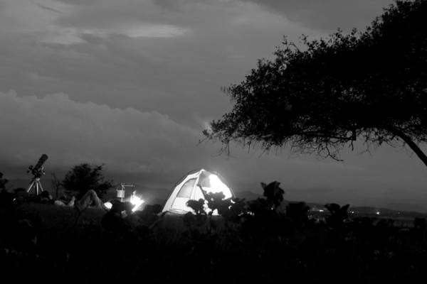 Horizontal Print featuring the photograph Night Time Camp Site by Kantilal Patel