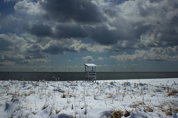 Lifeguard Stand Print featuring the photograph No Lifeguard On Duty by Amazing Jules