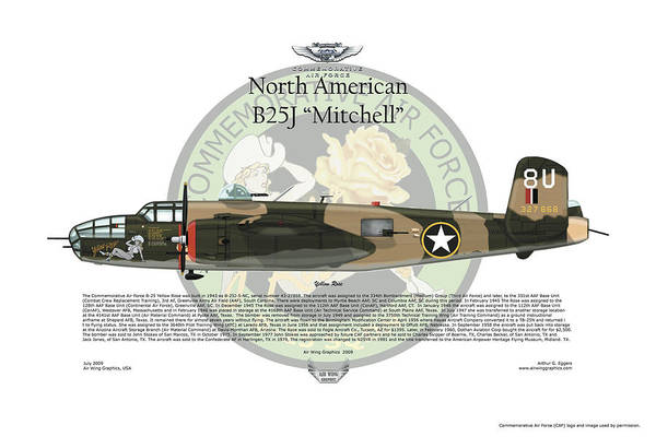 North American Art Print featuring the digital art North American B-25j Mitchell by Arthur Eggers