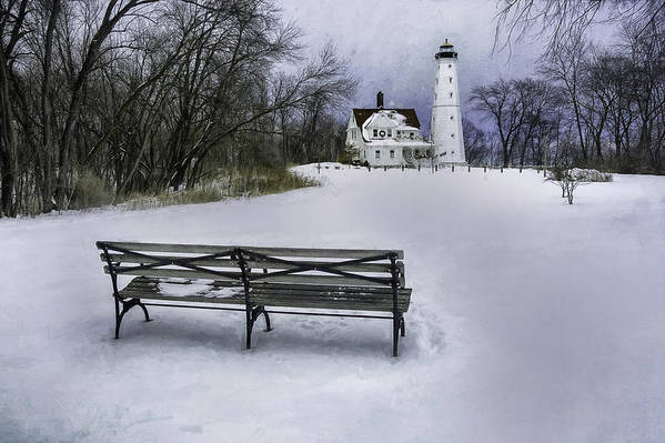 Lighthouse; Light House; Architecture; Beacon; Winter; Snow; Overcast; Cloudy; Cold; White; Tower; Keeper; House; Milwaukee; Lake Michigan; Structure; Building; Midwest; Shore; Nautical; Light Station; Coast; Frozen; Ice; Fine Art Photography; Scott Norris Photography; Bench; Sit; Rest; Park Bench; Wooden Bench Art Print featuring the photograph North Point Lighthouse And Bench by Scott Norris