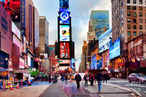 New York City Art Print featuring the photograph Ny Times Square Impressions IIi by Regina Geoghan