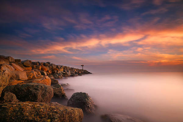 Clouds Art Print featuring the photograph Oceanside Harbor Jetty Sunset 4 by Larry Marshall