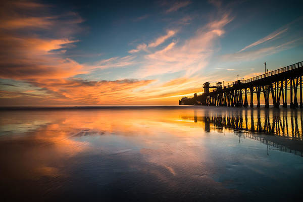 California; Long Exposure; Ocean; Reflection; San Diego; Sand; Seascape; Sky; Sunset; Surf; Seaside; Sun; Clouds; Southern California; Cloud; Water; Waterscape; Reef; Sea; Pacific; Waves; Coast; Coastal;skyline Art Print featuring the photograph Oceanside Reflections 3 by Larry Marshall