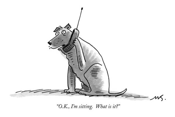 (dog Talking On Cell Phone.) Art Print featuring the drawing O.k., I'm Sitting. What Is It? by Mick Stevens