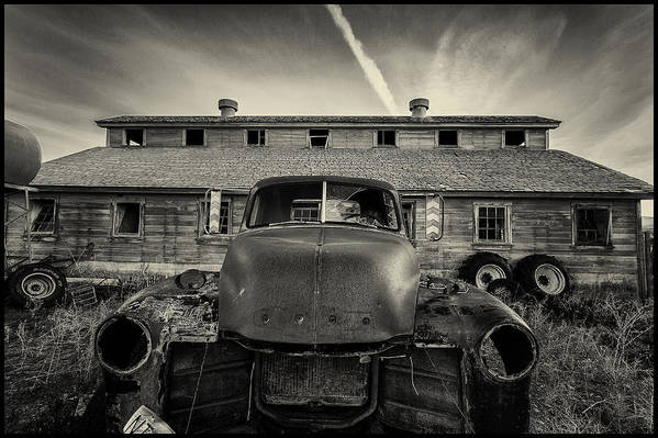 Black And Whiye Art Print featuring the photograph Old Barn And Truck by Christian Peay