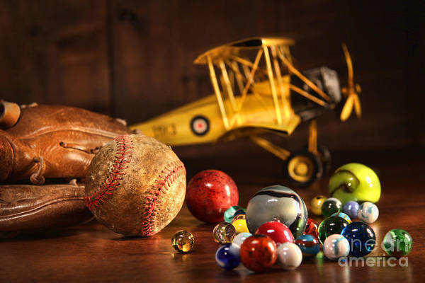 Aged Art Print featuring the photograph Old Baseball And Glove With Antique Toys by Sandra Cunningham