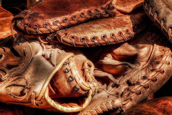 Baseball Art Print featuring the photograph Old Baseball Gloves by Bill Wakeley