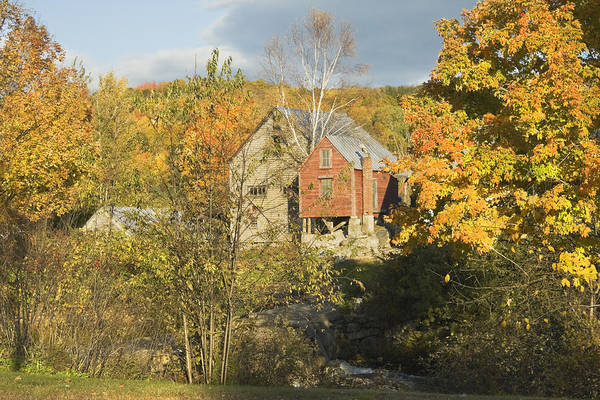 Fall Art Print featuring the photograph Old Buildings And Fall Colors In Vienna Maine by Keith Webber Jr