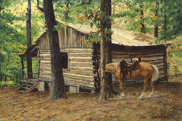 Log cabin back view at big creek art print by don for Log cabin painting