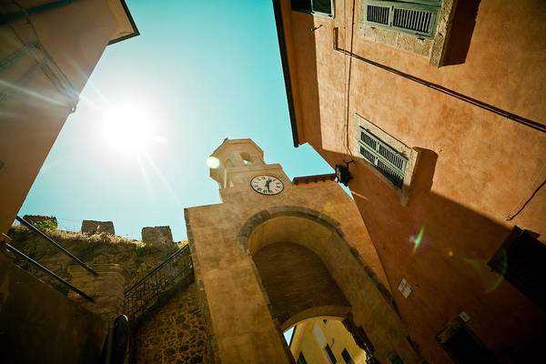 Buildings Art Print featuring the photograph Old Clock On The Tower And Sun by Raimond Klavins