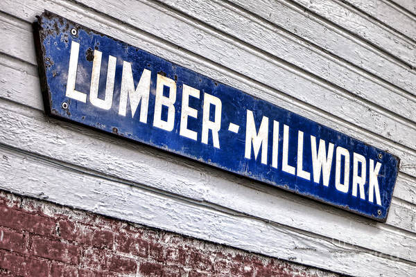 Lumber Print featuring the photograph Old Lumberyard Sign by Olivier Le Queinec