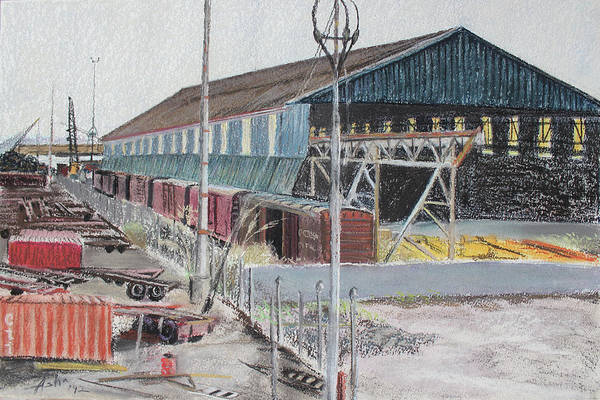 Industrial Landscape Painting Art Print featuring the painting Old Resting Train And Schnitzer Steel Building by Asha Carolyn Young