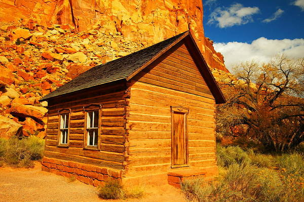 Schools Print featuring the photograph Old Schoolhouse Near Capital Reef Utah by Jeff Swan