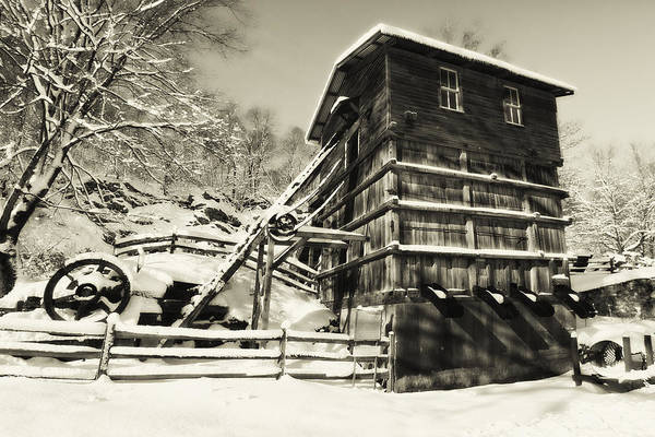 Scenic Art Print featuring the photograph Old Snow Covered Quarry Mill by George Oze