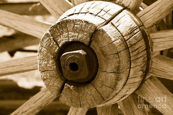 Wagon Art Print featuring the photograph Old Wagon Wheel - Sepia Rendering by Michael R Erwine