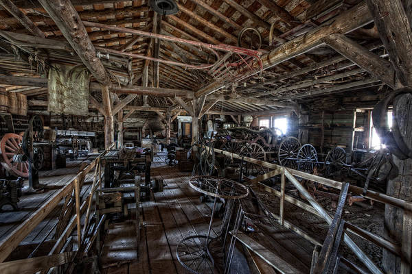 Montana Print featuring the photograph Old West Wagon Storage And Shop by Daniel Hagerman