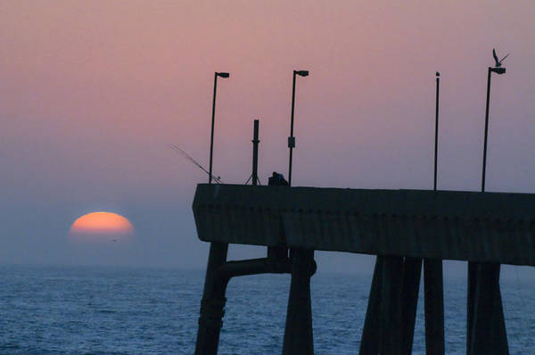 Pacifica Pier Art Print featuring the photograph On The Pacifica Pier At Sunset by Scott Lenhart