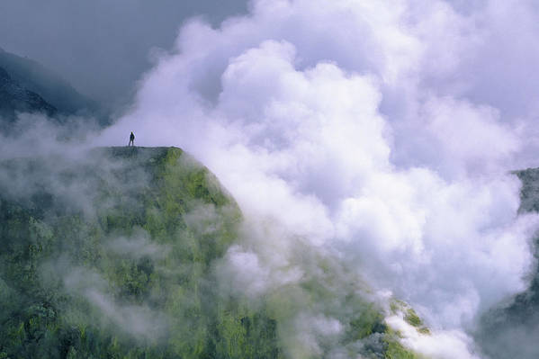 Central America Art Print featuring the photograph One Person Standing On The Plateau by Jose Azel
