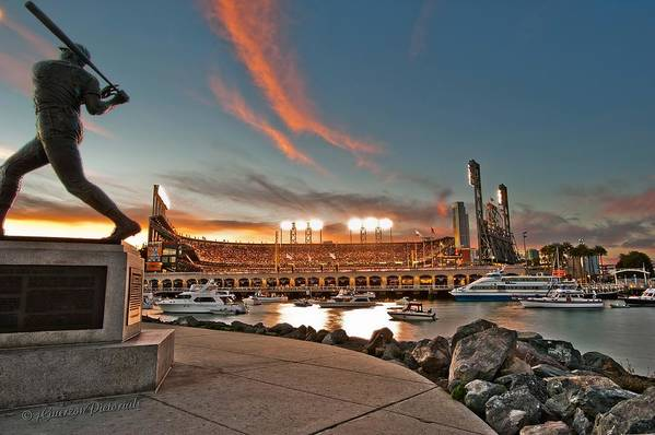 Att Park Art Print featuring the photograph Orange October 2012 Celebrates The San Francisco Giants by Jorge Guerzon