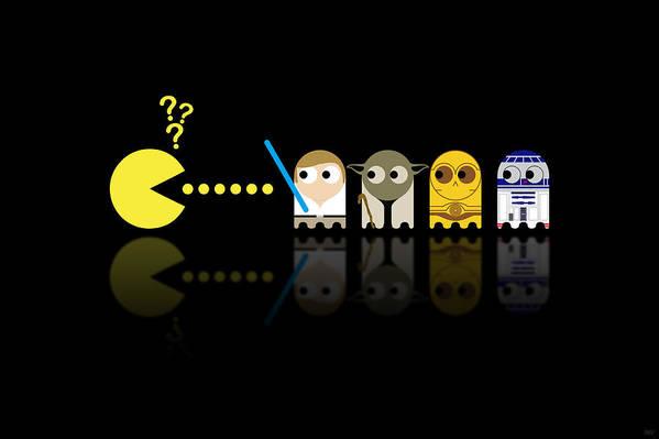 Pacman Art Print featuring the digital art Pacman Star Wars - 3 by NicoWriter