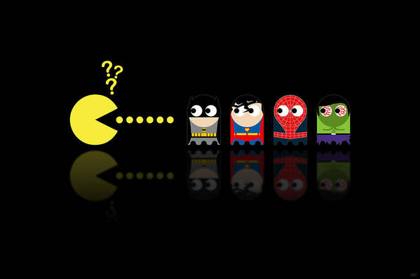 Pacman Art Print featuring the digital art Pacman Superheroes by NicoWriter
