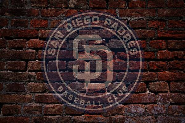 Baseball Print featuring the photograph Padres Baseball Graffiti On Brick by Movie Poster Prints