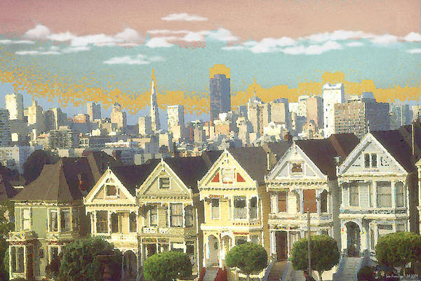 San+francisco Art Print featuring the painting San Francisco Alamo Square - Watercolor Illustration by Peter Potter