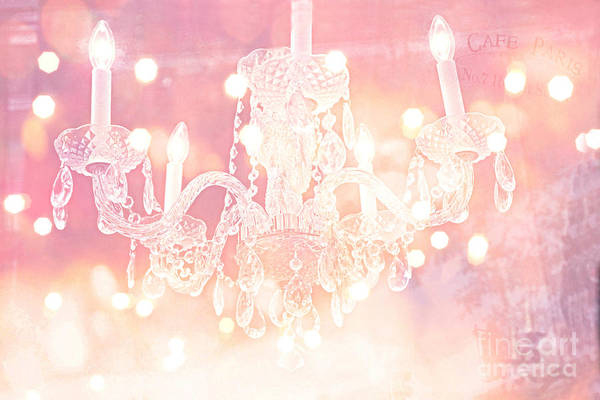French Chandeliers Art Print featuring the photograph Paris Dreamy Ethereal Chandelier Art - Dreamy Pink Bokeh Sparkling Paris Chandelier Art Deco by Kathy Fornal