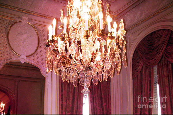 French Chandeliers Art Print featuring the photograph Paris Hotel Regina Pink Mauve Crystal Chandelier Hotel Entrance Lobby Chandelier Art Deco by Kathy Fornal