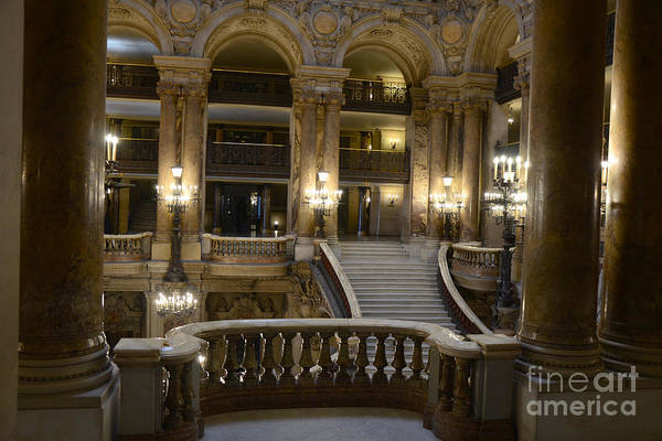 Paris Opera Garnier Interior Photos Art Print featuring the photograph Paris Opera House Interior Romantic Staircase Balconies And Architecture by Kathy Fornal