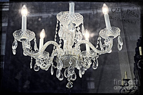 Dreamy Paris Chandeliers Print featuring the photograph Paris Surreal Silver Crystal Chandelier - Paris Cafe Chandelier Art by Kathy Fornal