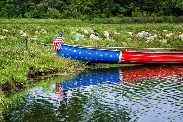 Canoe Art Print featuring the photograph Patriotic Canoe #1 by Nikolyn McDonald