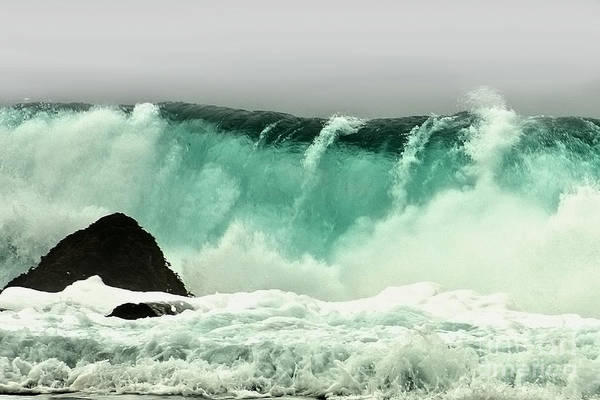 Crashing Wave Print featuring the photograph Pebble Beach Crashing Wave by Artist and Photographer Laura Wrede