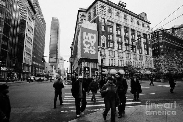 Usa Art Print featuring the photograph Pedestrians Cross Crosswalk Crossing Of 6th Avenue Broadway And 34th Street At Macys New York Usa by Joe Fox