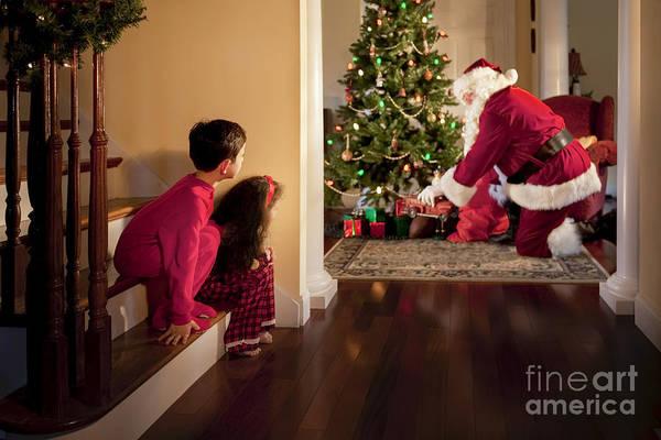 Christmas Art Print featuring the photograph Peeking At Santa by Diane Diederich
