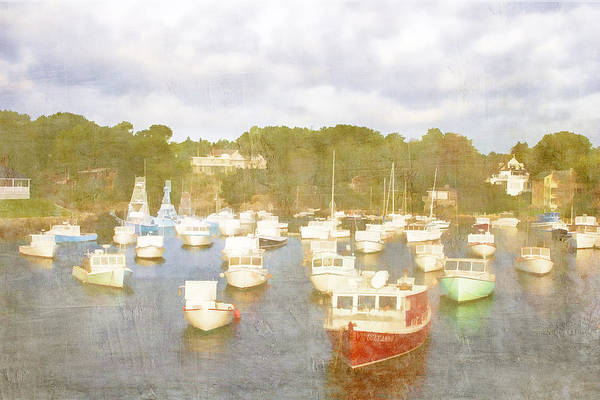 Perkins Cove Art Print featuring the photograph Perkins Cove Lobster Boats Maine by Carol Leigh