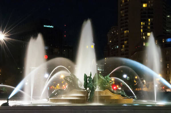 Night Art Print featuring the photograph Philadelphia - Swann Fountain - Night by Bill Cannon