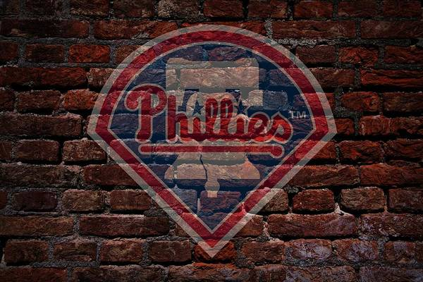 Baseball Art Print featuring the photograph Phillies Baseball Graffiti On Brick by Movie Poster Prints